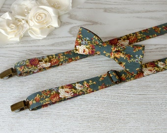 SUSPENDER and BOWTIE SET Floral Teal Meadow  Orange Floral Wedding Suspenders  Men's Suspenders