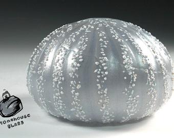Sea Urchin vase. Soft Silver Gray with White. 217_0032