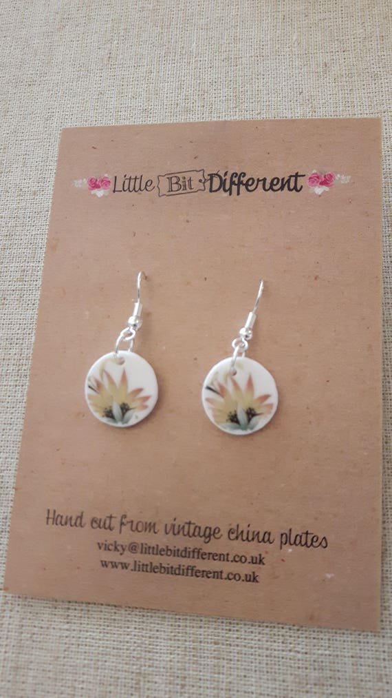 Broken china earrings.  China shard earrings  Unusual earrings.  Porcelain earrings.  Handmade in Wales UK