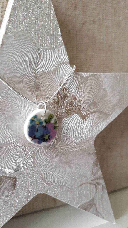 vintage broken china pendant
