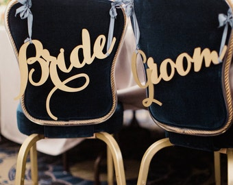 Bride and Groom chair signs, wedding signs, wedding chair signs
