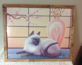 Vintage Cat Print / Poster by Andy Mack 1986 Framed Cat Poster / Print Siamese Cat