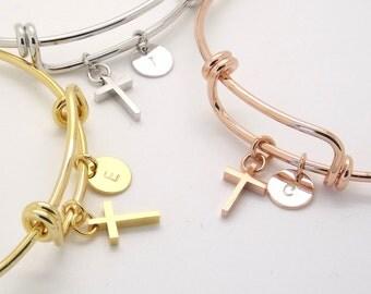 Silver rose gold or 16k gold plated cross and initial bangle•initial bangle•cross bangle•bridesmaid gift•cross bracelet•sister gift•