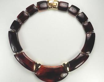 Beautiful vintage plastic w gold tone details large necklace by Napier