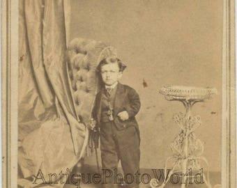 Charles Decker midget circus performer antique CDV photo