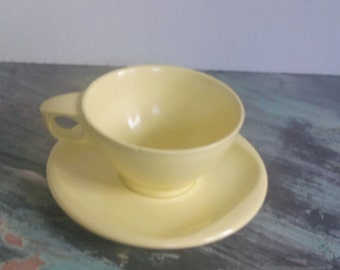 Vintage Boontonware Sunny Yellow Coffee or Tea Cup with matching Saucer, Melmac, Melamine, Diner, Boonton