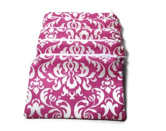 Reusable Snack Bags Set of 5 Zipper Pink Damask Twill
