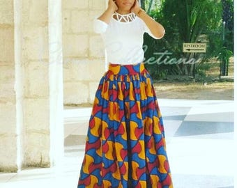 Red Blue, Black, Yellow African Maxi Skirt, Ankara print skirt, Long African skirt, High waist Skirt, African clothing, African Fabric Dress