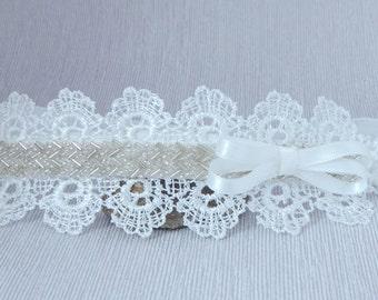 Baby lace and rhinestones headband with satin bow, hair band for baptism, christening, wedding