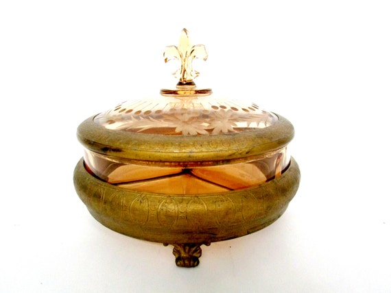 Rare Fostoria Candy Dish Box, Fleur De Lis Lid, Amber Glass, Brass Stand Trim, Fostoria Candy Dish with Footed Brass Stand and Lid Trim