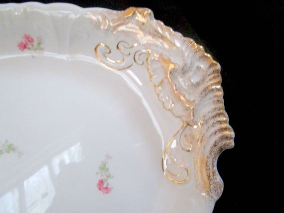 Antique Limoges Platter, Jean Pouyat, JPL Limoges, Pink Carnations, Pink Floral Limoges, Limoges Serving Platter