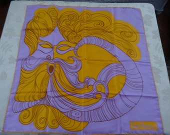 Sant Angelo river god Archelous silk square scarf hand rolled hem lilac and gold colors - psychedelic pop art 1960s scarf