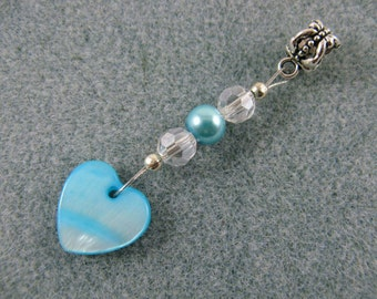 Dreadlock charm dangle with blue shell heart
