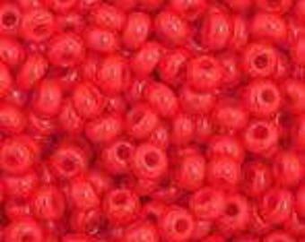 Medium Red Opaque Czech Seed Bead
