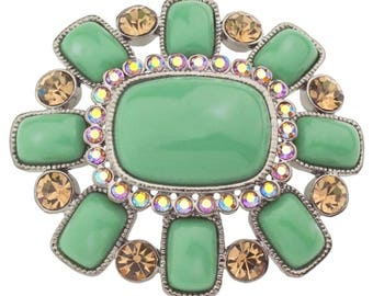 Joan Rivers Large Green Brooch Crystals - S2000
