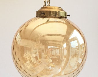 SOLD Art Deco hand blown Glass Pendant shade in a gold irredesant glass