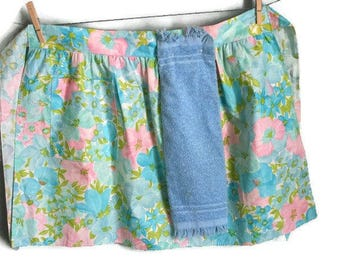 Vintage Blue Floral half apron complete with Terry Towel snapped on