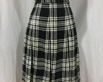 Vintage 1960s Black and White Plaid Box Pleated Wool School Girl Knee Length Skirt by Prestige of Boston