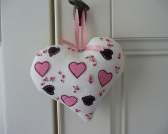 Embroidered Fabric Heart, Padded Heart,Applique Pink Hearts, Hanging Heart, Fabric Door Hanger, Gift for Mother, New Home Gift, Wedding Gift
