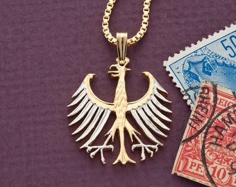 Eagle pendant etsy germany eagle pendant and necklace german five mark coin hand cut 14 karat gold mozeypictures Images