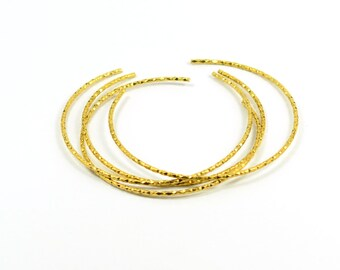 10 Pcs. Raw Brass Bangle Bracelet Textured Findings ,1.7 mm Thick