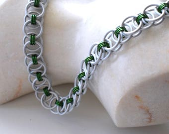 Chainmail necklace, matte silver and green helmweave chain mail necklace, handmade chainmaille jewelry made by misome