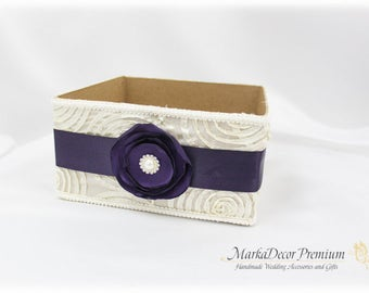 Bridal Card Box / Wedding Box / Money Card Box / Gift Holder in Ivory and Lapis Purple with a Beautiful Handmade Flower