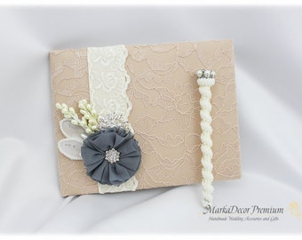 Wedding Lace Guest Book Pen Set Custom Bridal Flower Brooch Guest Books in Champagne, Ivory, Charcoal Gray