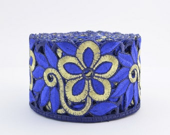 Gold Trim, Lace Trim, Embroidered Lace, Embroidery Lace Trim, Border, Indian Style, Filigree, Electric Blue, Gold - 1 meter