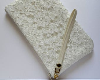 Bridal bag,Ivory clutch,Lace Ivory,Wedding clutch,Personalized bridesmaids set ,3,5,7,Beach,Summer,Rustic wedding,Bride clutch,Made To Order