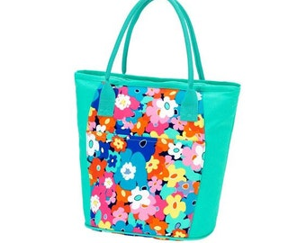 Ladies Personalized Insulated Cooler Tote Floral Poppy Mint Trim