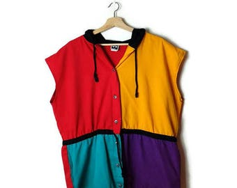 Vintage Oversized Color Blocked Cotton hooded Sleeveless Blouse/vest from 90's*