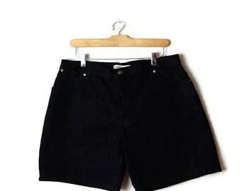 Vintage Black High waist Denim Shorts from 90's/W32*