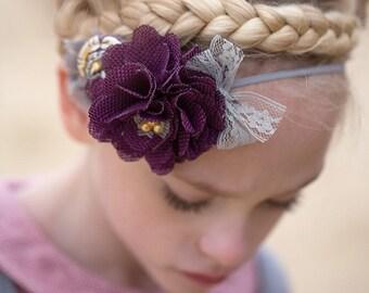 Purple Grey Mustard headband , Eggplant Purple Burlap flower headband ,Grey Lace hairbow