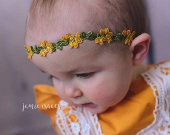 Green yellow headband , Yellow floweres headband , Spring yellow headband