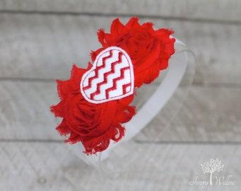 Red and White Chevron Headband - Chevron Heart Headband - Red and White Headband - Valentines Day Headband - Baby Headband  - Adult Headband