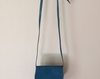 small italian purse | sapphire blue leather messenger bag