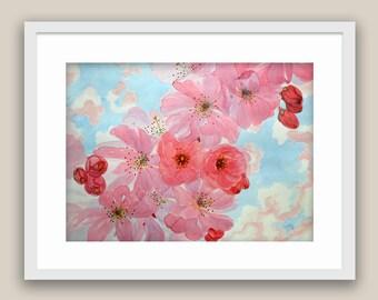 Watercolor painting by Tamara Shturba - Spring Flowers Home Living Still Life
