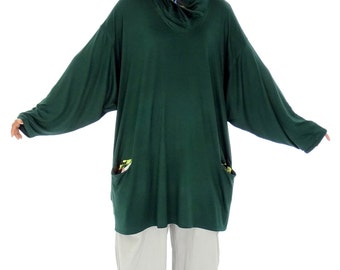 HR900GN1 tunic layered look shirt size 40 42 44 46 48 50 52 green vintage