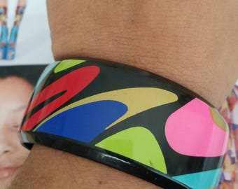 Vintage 60s Black Colorful Abstract Funky Groovy Plus Size  Bangle Bracelet
