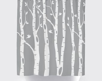 Marvelous Birch Tree Shower Curtain With Birds | Grey, White OR ANY Colors | Standard  U0026