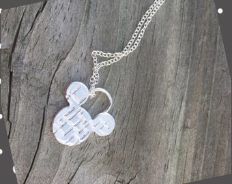 Mickey Ears Necklace - Sterling Silver Pendant Necklace