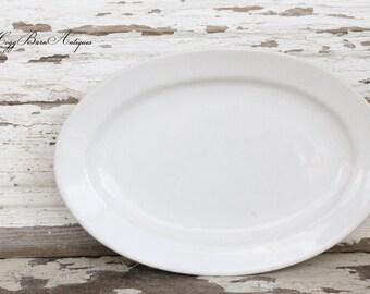 Vintage White Ironstone Platter CRESTWARE Farmhouse Decor  Restaurant Ware Fixer Upper Decor
