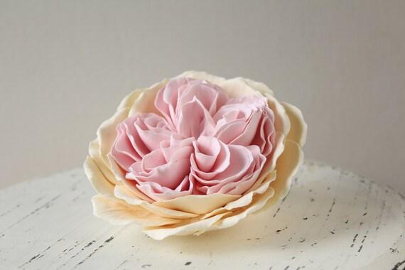 Romantic wedding flowers White flowers Bride Flower hair piece  Hair clip polymer clay flower