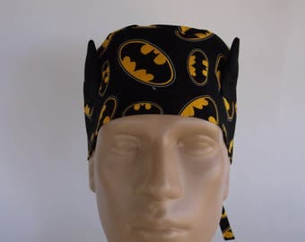 Batman Ears Men's Surgical Scrub Hat with sweatband option, Surgical Cap, Bakers Hat, 103-900