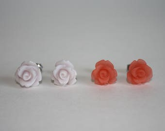 I Am Worthy Pair of 10mm Resin Rose Stud Earrings with Surgical Stainless Steel Posts and Backs