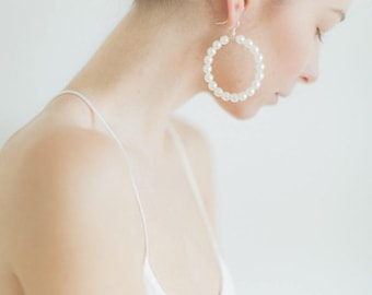 Hoop Pearl Earrings, Gifts for Her, Pearl Earrings, Circle Earrings