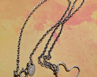 Nashelle Dangly Heart Necklace Sterling Silver
