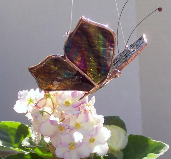 Stained Glass Butterfly Suncatcher, Feng Shui, Home Decor, Colored Glass Butterflies, Gift, Garden Art, Hanging Sun Catcher, Insect