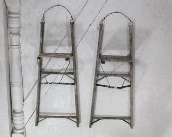 """40"""" Antique Wood Ladder Wall Shelf with Towel Bar or Quilt Rack"""
